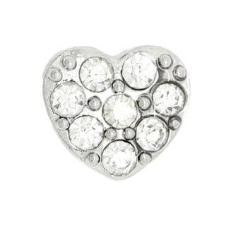 Floating charm bedeltje zilver hartje strass