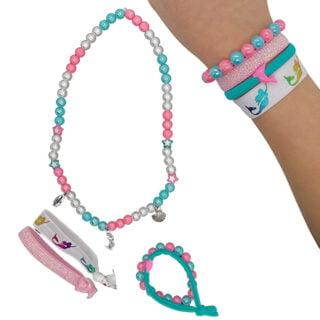 DIY kinder pakket zeemeermin armbandjes ketting feestje thuis meisjes