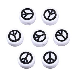 Peace kraal wit zwart plat rond 7mm letterkalen