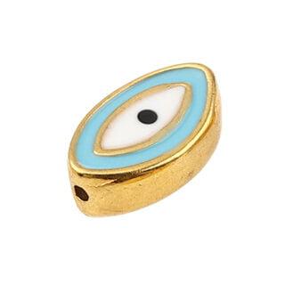 Ovalen evil eye kraal goud blauw