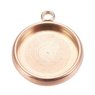 Plat ronde bedel cabochons setting rosé gouden hanger tray 12mm rvs