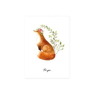 Wenskaartje cadeau kaart for you vos bloemetjes