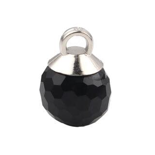 zilveren zwart facet bal bedeltje