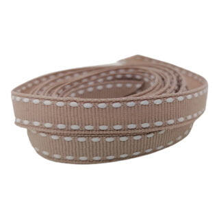 1cm breed beige bruin gestikt band lint