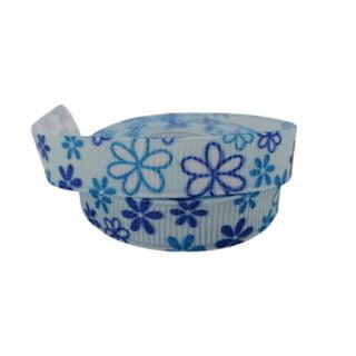Grosgrain lint blauw met bloemetjes 10mm