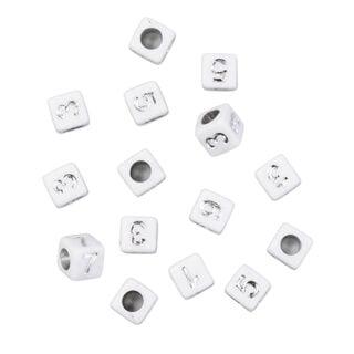 Cijferkraaltjes wit zilver vierkant groot gat