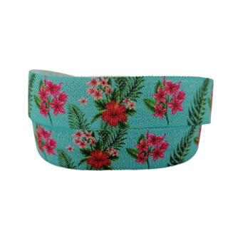 Turquoise elastiek lint bloemen 15mm