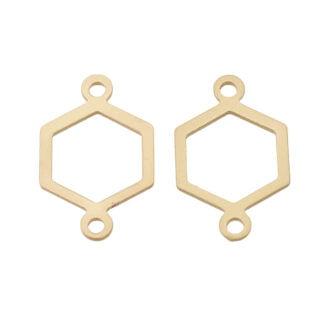 Hexagon bedel 2 oogjes tussenstuk goud mat