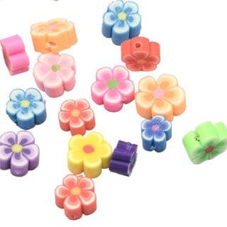 Polymeer kraal bloemen gekleurd