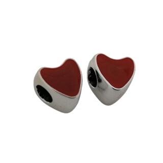 Kralen met groot gat zilveren bordeaux rood hartje