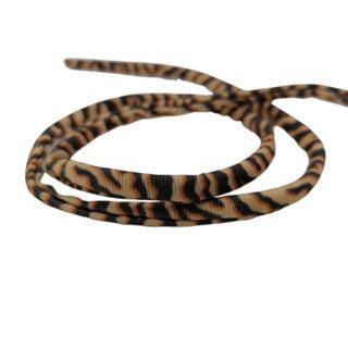 Elastisch lint rond gestikt 5mm tijger print beige bruin