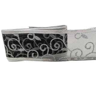 Zwart zilveren glitter lint organza metalen randjes