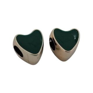 Gouden kralen met groot gat hart groen