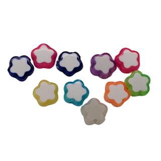Bloemetjes kralen gekleurd mix