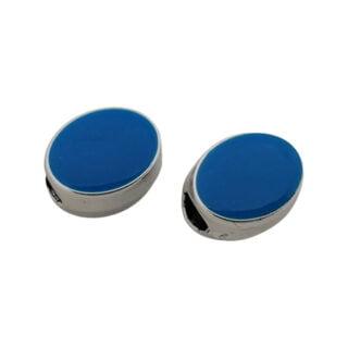 Zilveren kralen met groot gat blauw ovaal