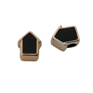 Kraal groot gat zwart goud pijl huis