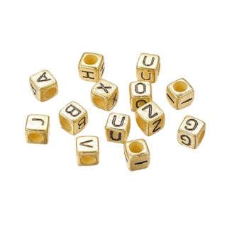 Letterkraal vierkant goud 6mm kunststof groot gat