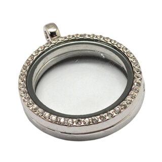 Zilverkleurige medaillon locket strass