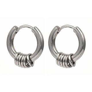 RVS oorbellen rond zilver met ringetjes man vrouw