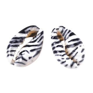 Open schelpkralen zebra dieren print zwart wit