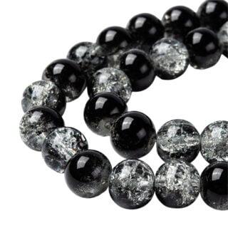 ronde glaskraaltjes zwart transparant crackle 8mm