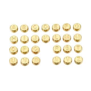 Goudkleurige alfabetkralen mix plat rond 7mm