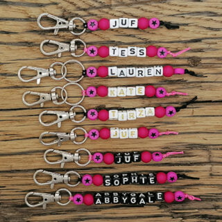 Naamsleutelhangers roze ster meisjes traktatie
