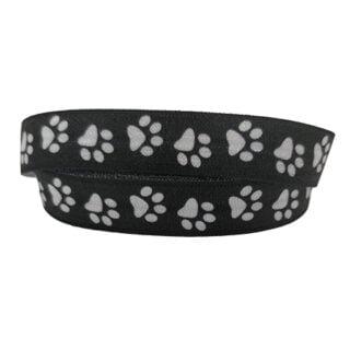 Elastisch lint honden poot 1.5cm zwart wit