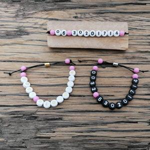 Armband met telefoonnummer roze SOS verstelbaar