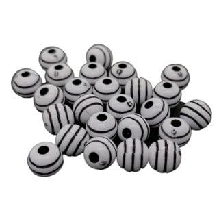Ronde kralen wit zwart gestreept 8mm