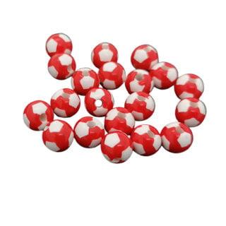rood wit geblokte kralen 8mm