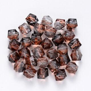 facet kralen acryl 2 kleurig bruin