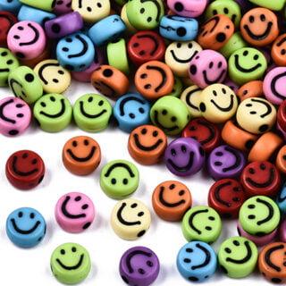 Smiley kralen plat rond mix color 7mm