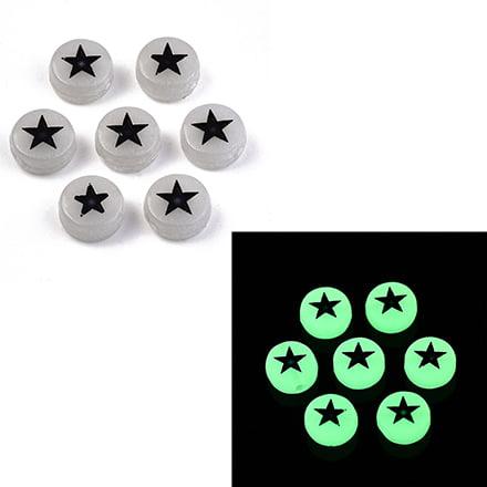 glow in the dark kraal ster plat rond 7mm