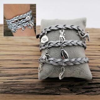 DIY setje zilveren wrap on bedelarmbandje
