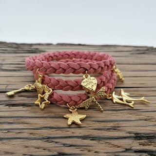 Bedelarmband goud roze DIY pakket wikkel armband