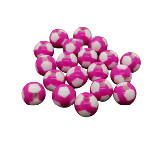 Roze wit geblokte kraal acryl 8mm rond